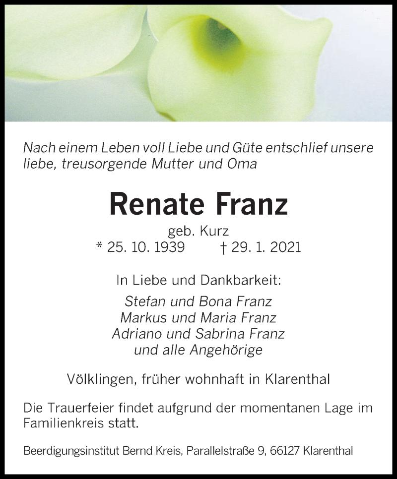 Traueranzeige für Renate Franz vom 13.02.2021 aus saarbruecker_zeitung