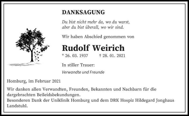 Traueranzeige für Rudolf Weirich vom 23.02.2021 aus saarbruecker_zeitung