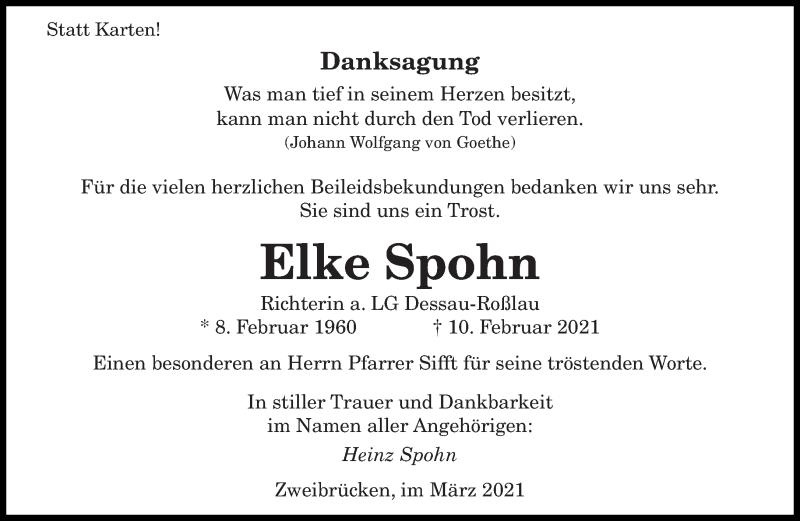 Traueranzeige für Elke Spohn vom 06.03.2021 aus saarbruecker_zeitung