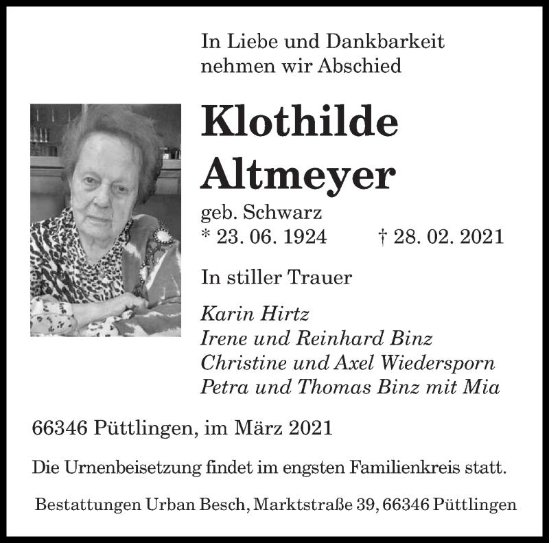 Traueranzeige für Klothilde Altmeyer vom 06.03.2021 aus saarbruecker_zeitung