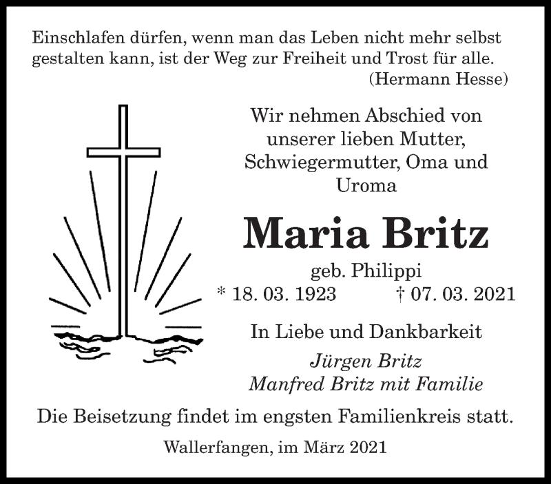 Traueranzeige für Maria Britz vom 17.03.2021 aus saarbruecker_zeitung
