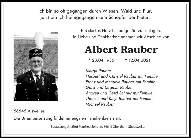 Traueranzeige für Albert Rauber vom 20.04.2021 aus saarbruecker_zeitung