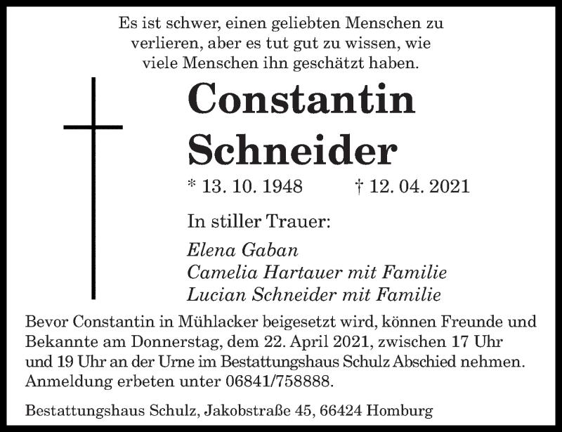 Traueranzeige für Constantin Schneider vom 19.04.2021 aus saarbruecker_zeitung