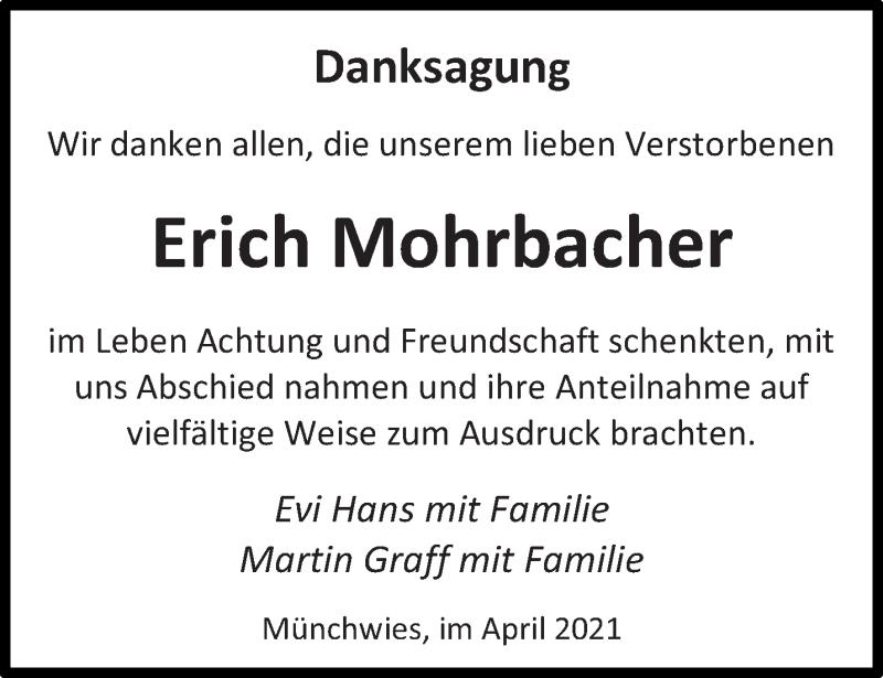 Traueranzeige für Erich Mohrbacher vom 29.04.2021 aus saarbruecker_zeitung
