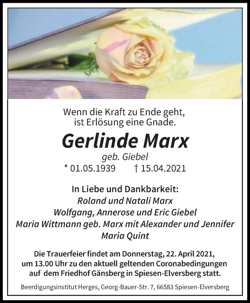 Traueranzeige für Gerlinde Marx vom 19.04.2021 aus saarbruecker_zeitung