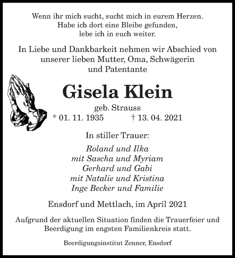 Traueranzeige für Gisela Klein vom 17.04.2021 aus saarbruecker_zeitung