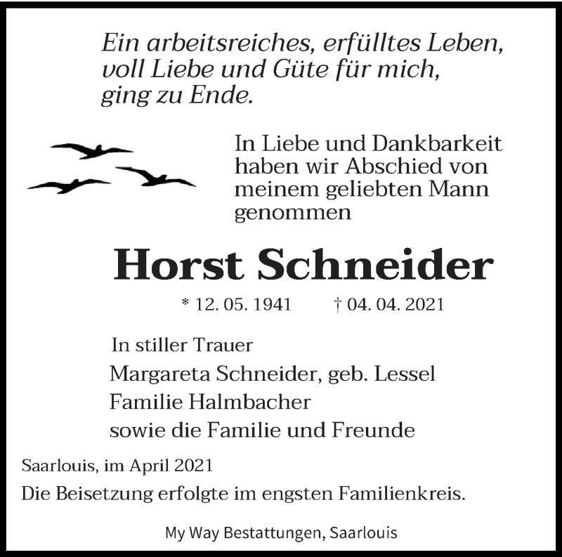 Traueranzeige für Horst Schneider vom 17.04.2021 aus saarbruecker_zeitung