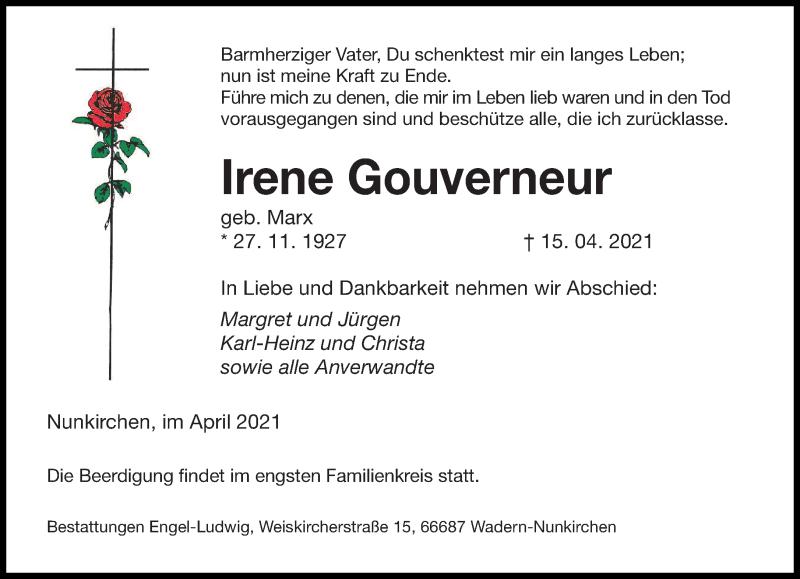 Traueranzeige für Irene Gouverneur vom 17.04.2021 aus saarbruecker_zeitung