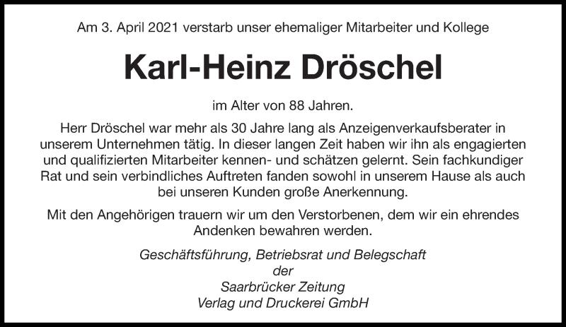 Traueranzeige für Karl-Heinz Dröschel vom 08.04.2021 aus saarbruecker_zeitung