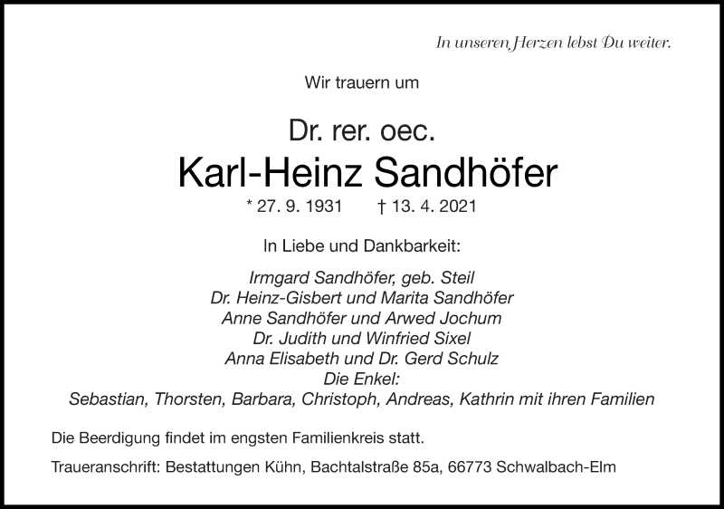 Traueranzeige für Karl-Heinz Sandhöfer vom 17.04.2021 aus saarbruecker_zeitung