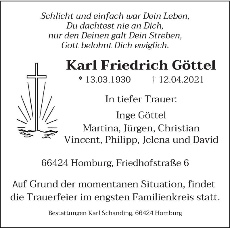 Traueranzeige für Karl Friedrich Göttel vom 17.04.2021 aus saarbruecker_zeitung