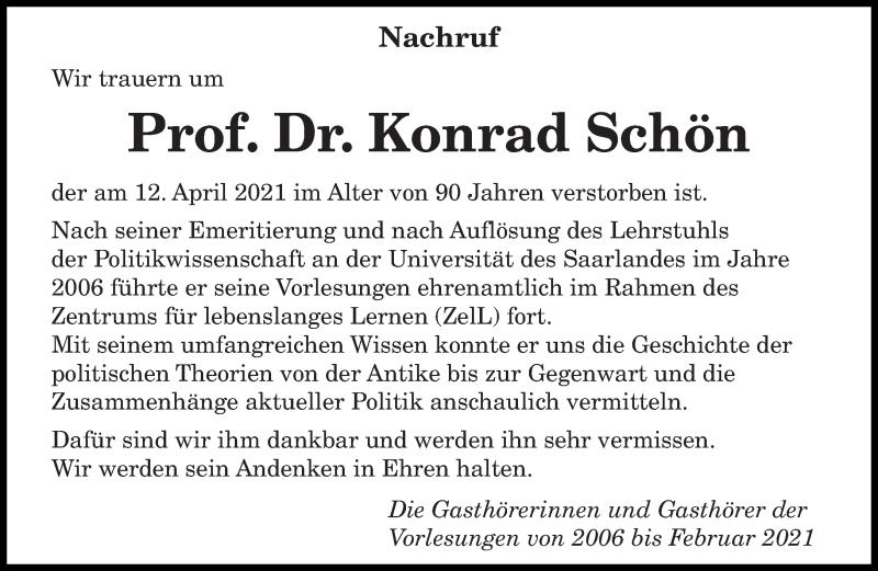 Traueranzeige für Konrad Schön vom 17.04.2021 aus saarbruecker_zeitung