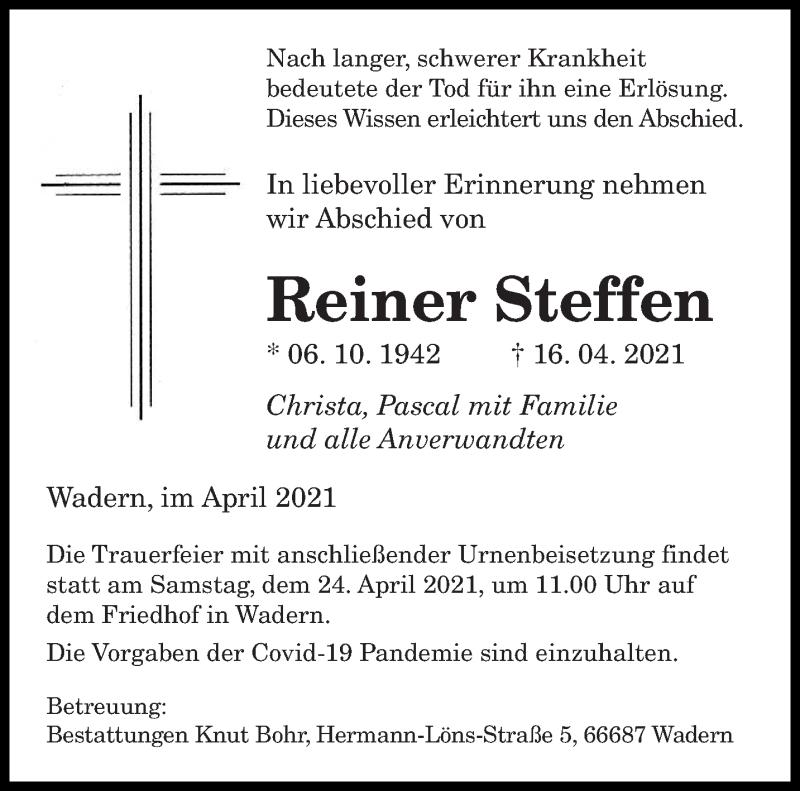Traueranzeige für Reiner Steffen vom 21.04.2021 aus saarbruecker_zeitung