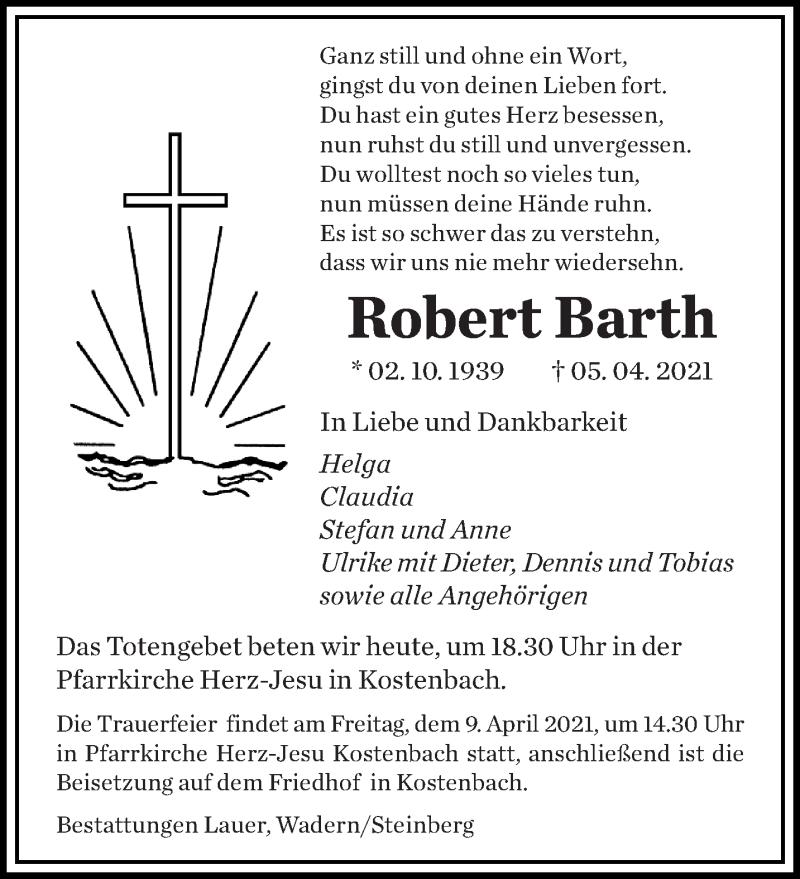 Traueranzeige für Robert Barth vom 08.04.2021 aus saarbruecker_zeitung