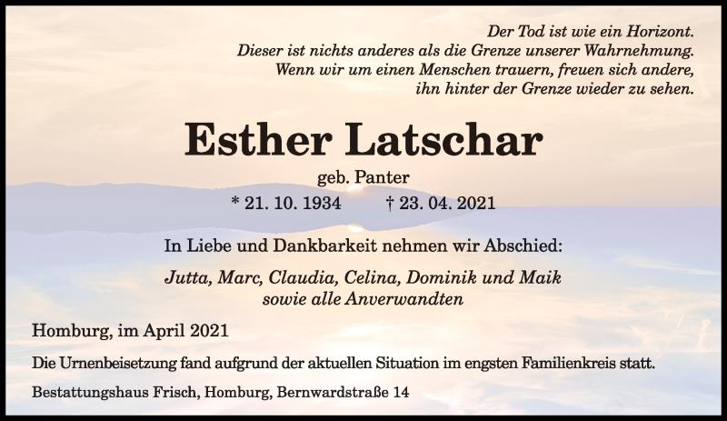 Traueranzeige für Esther Latschar vom 04.05.2021 aus saarbruecker_zeitung