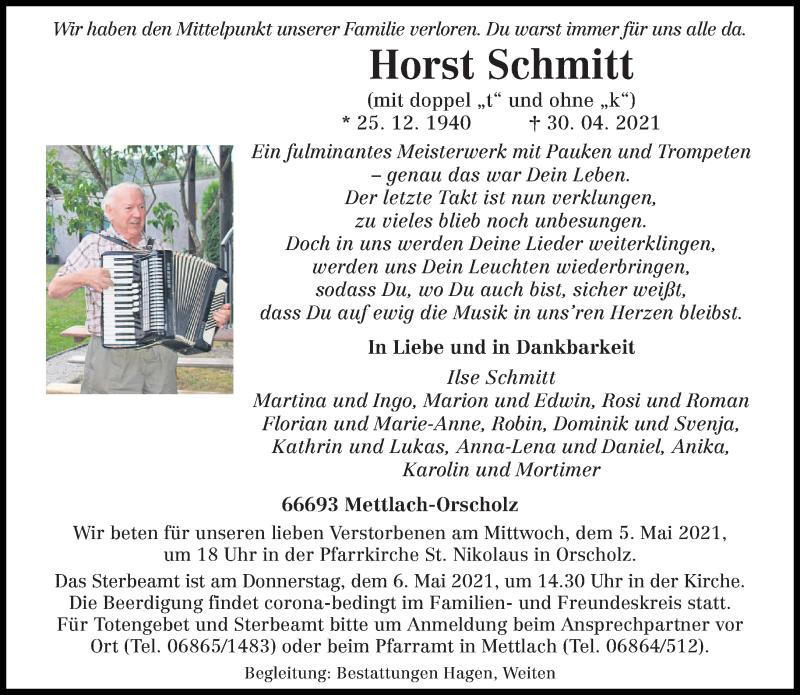 Traueranzeige für Horst Schmitt vom 04.05.2021 aus saarbruecker_zeitung