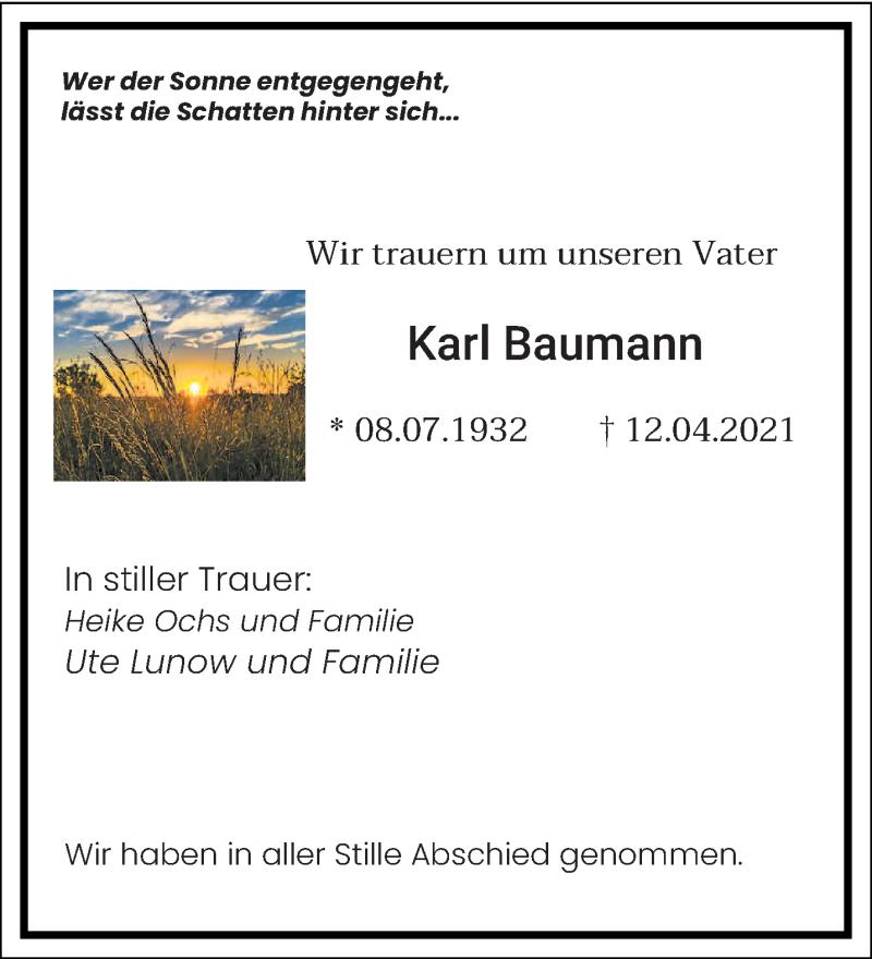 Traueranzeige für Karl Baumann vom 04.05.2021 aus saarbruecker_zeitung