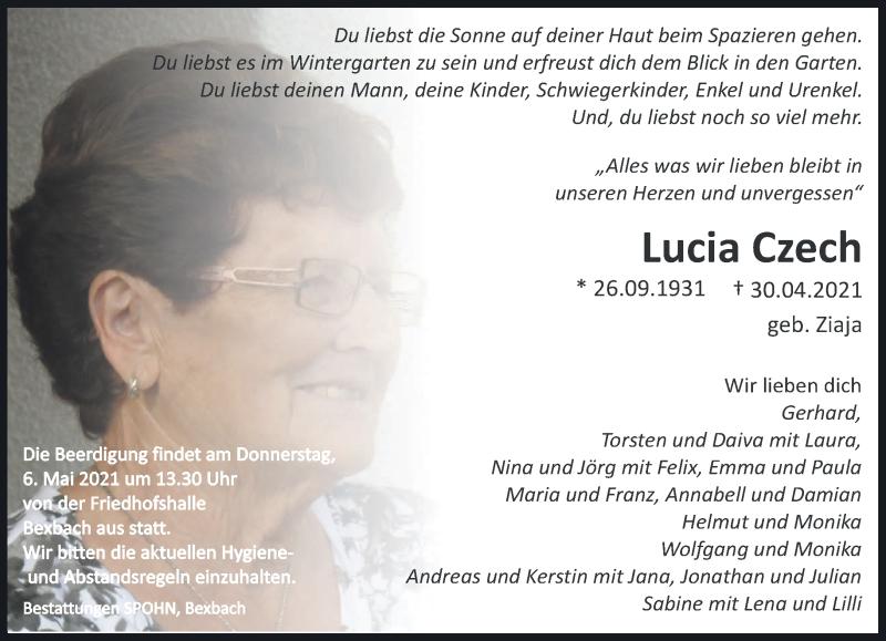 Traueranzeige für Lucia Czech vom 04.05.2021 aus saarbruecker_zeitung
