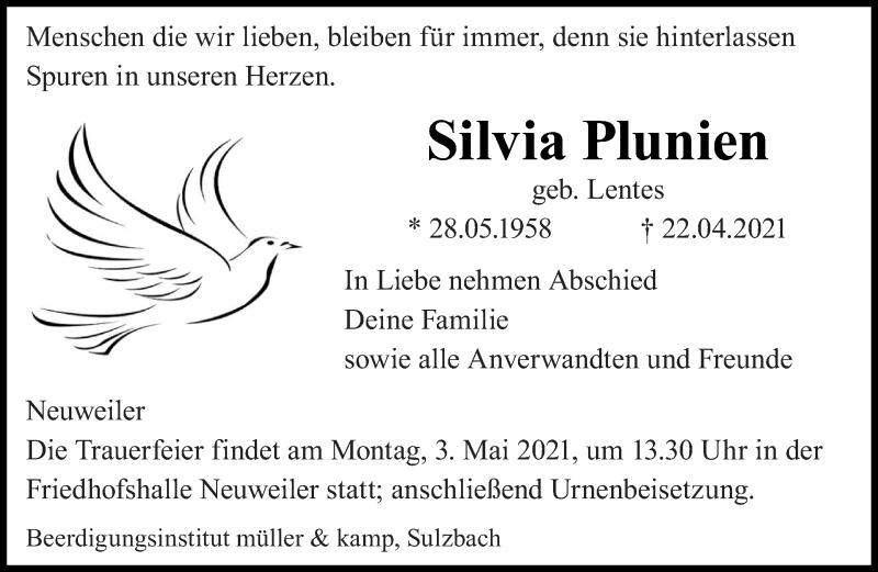 Traueranzeige für Silvia Plunien vom 03.05.2021 aus saarbruecker_zeitung
