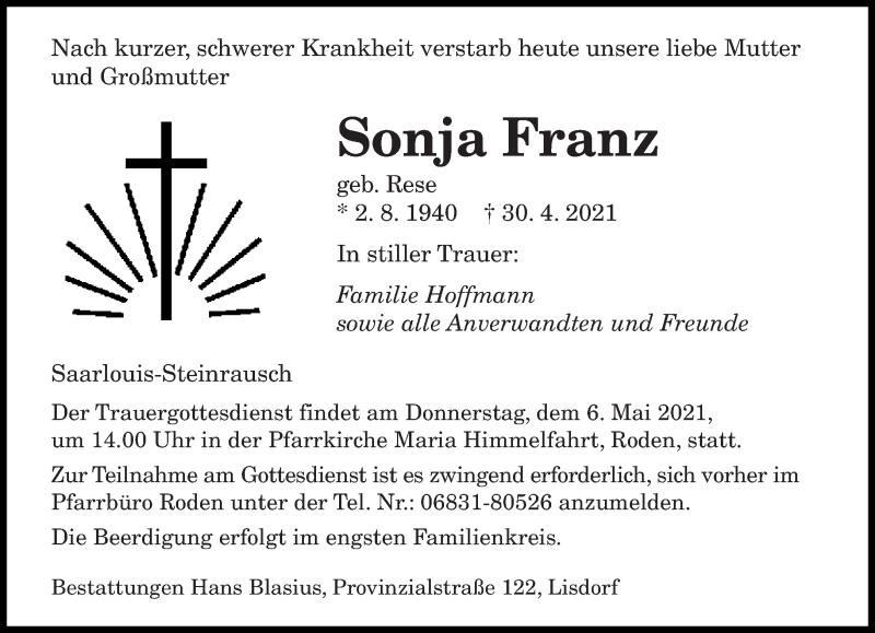 Traueranzeige für Sonja Franz vom 03.05.2021 aus saarbruecker_zeitung