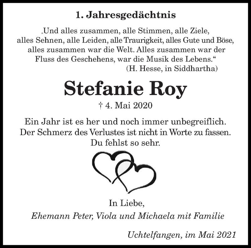 Traueranzeige für Stefanie Roy vom 04.05.2021 aus saarbruecker_zeitung