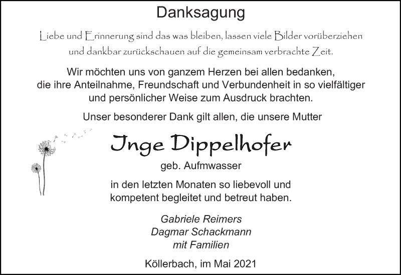 Traueranzeige für Inge Dippelhofer vom 15.05.2021 aus saarbruecker_zeitung