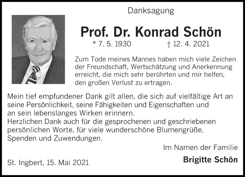 Traueranzeige für Konrad Schön vom 15.05.2021 aus saarbruecker_zeitung