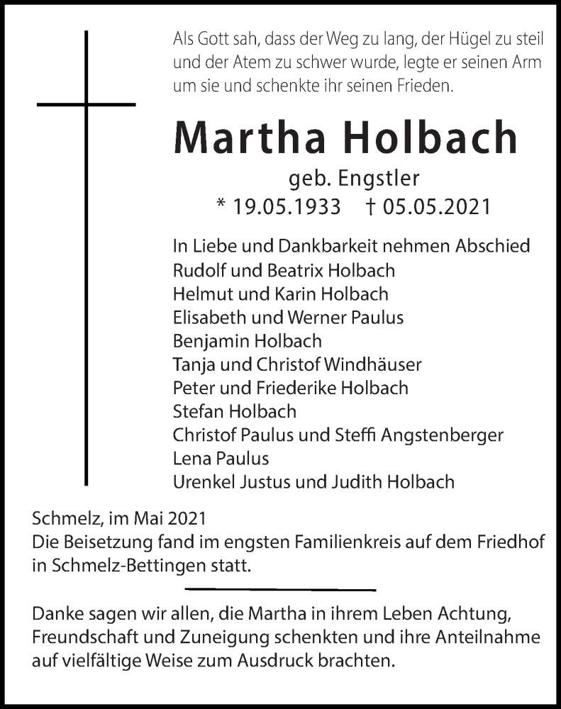 Traueranzeige für Martha Holbach vom 15.05.2021 aus saarbruecker_zeitung