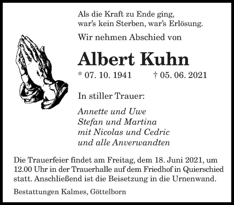 Traueranzeige für Albert Kuhn vom 12.06.2021 aus saarbruecker_zeitung