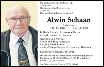 Traueranzeige von Alwin Schaan von saarbruecker_zeitung