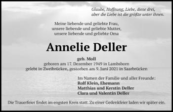 Traueranzeige von Annelie Deller von saarbruecker_zeitung