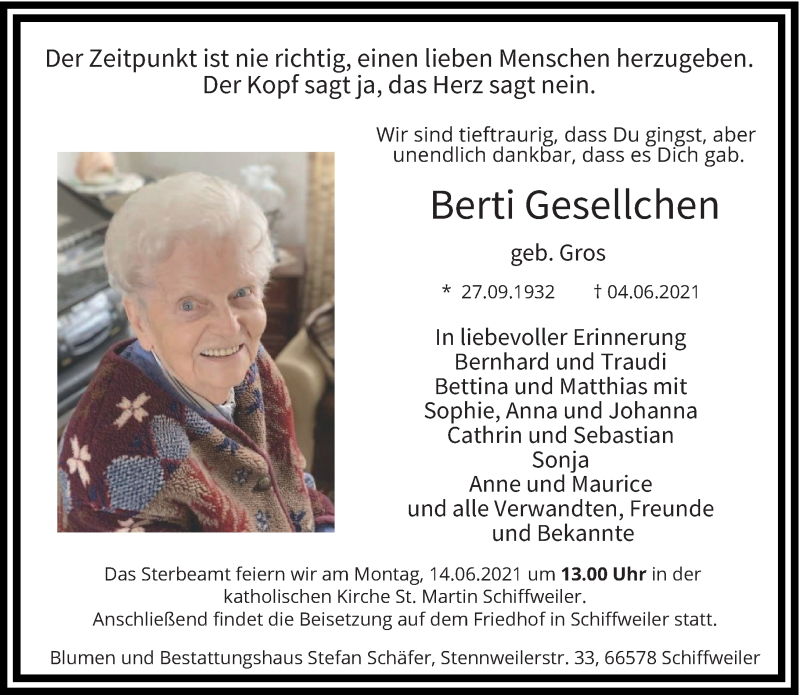 Traueranzeige für Berti Gesellchen vom 09.06.2021 aus saarbruecker_zeitung