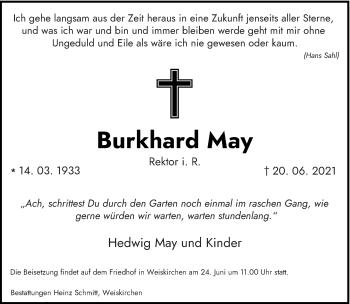 Traueranzeige von Burkhard May von saarbruecker_zeitung