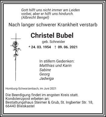 Traueranzeige von Christel Bubel von saarbruecker_zeitung