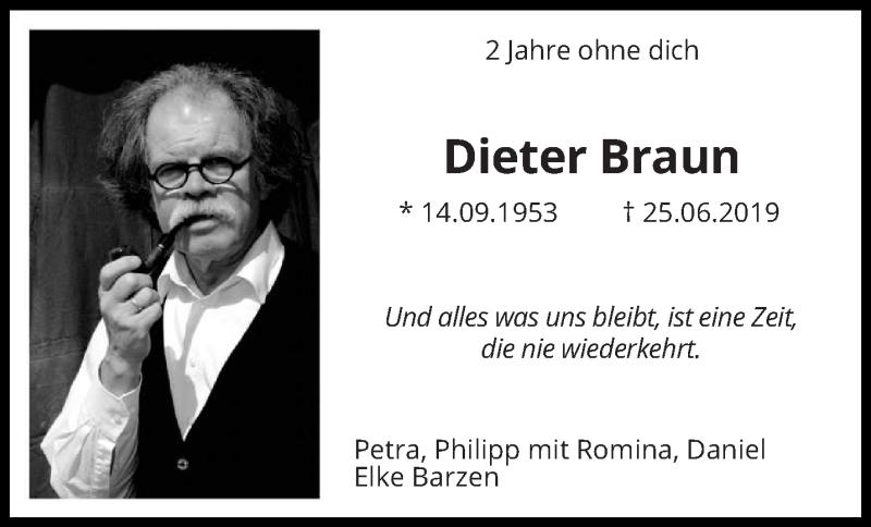 Traueranzeige für Dieter Braun vom 25.06.2021 aus saarbruecker_zeitung
