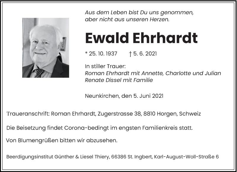 Traueranzeige für Ewald Ehrhardt vom 09.06.2021 aus saarbruecker_zeitung