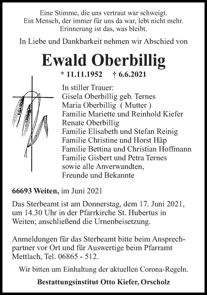 Traueranzeige für Ewald Oberbillig vom 14.06.2021 aus saarbruecker_zeitung