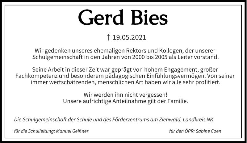 Traueranzeige für Gerd Bies vom 11.06.2021 aus saarbruecker_zeitung