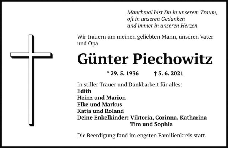 Traueranzeige für Günter Piechowitz vom 12.06.2021 aus saarbruecker_zeitung