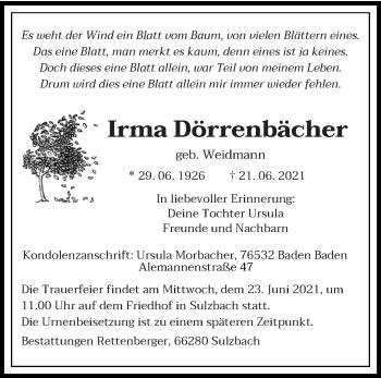 Traueranzeige von Irma Dörrenbächer von saarbruecker_zeitung