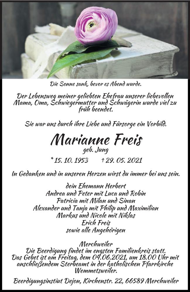 Traueranzeige für Marianne Freis vom 02.06.2021 aus saarbruecker_zeitung
