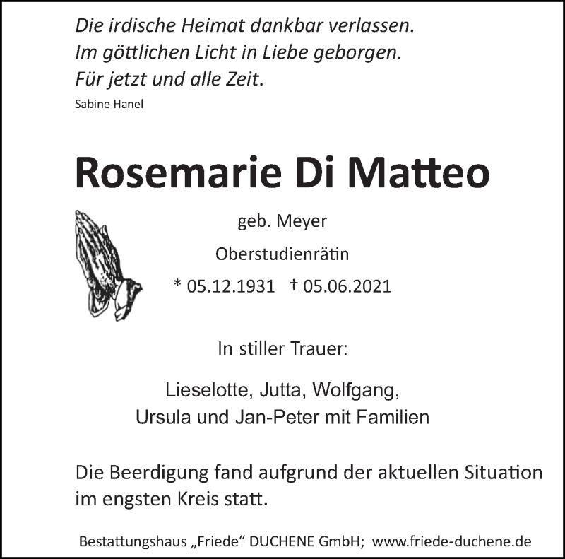 Traueranzeige für Rosemarie Di Matteo vom 12.06.2021 aus saarbruecker_zeitung