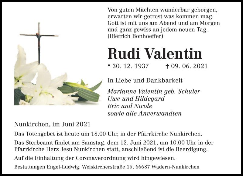 Traueranzeige für Rudi Valentin vom 11.06.2021 aus saarbruecker_zeitung