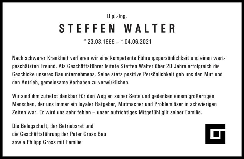 Traueranzeige für Steffen Walter vom 11.06.2021 aus saarbruecker_zeitung