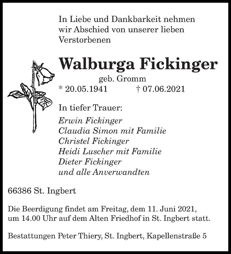Traueranzeige für Walburga Fickinger vom 09.06.2021 aus saarbruecker_zeitung