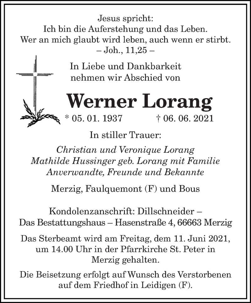 Traueranzeige für Werner Lorang vom 08.06.2021 aus saarbruecker_zeitung