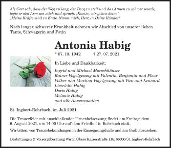 Traueranzeige von Antonia Habig von saarbruecker_zeitung