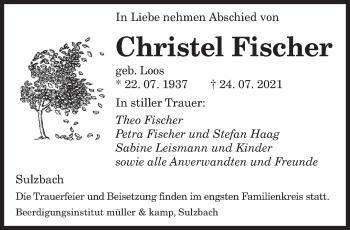 Traueranzeige von Christel Fischer von saarbruecker_zeitung