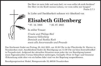 Traueranzeige von Elisabeth Gillenberg von saarbruecker_zeitung