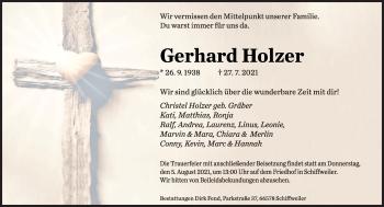Traueranzeige von Gerhard Holzer von saarbruecker_zeitung